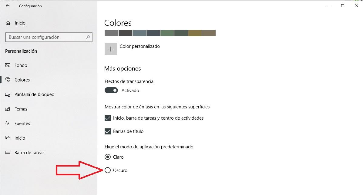 Cómo activar el modo oscuro en Windows 10