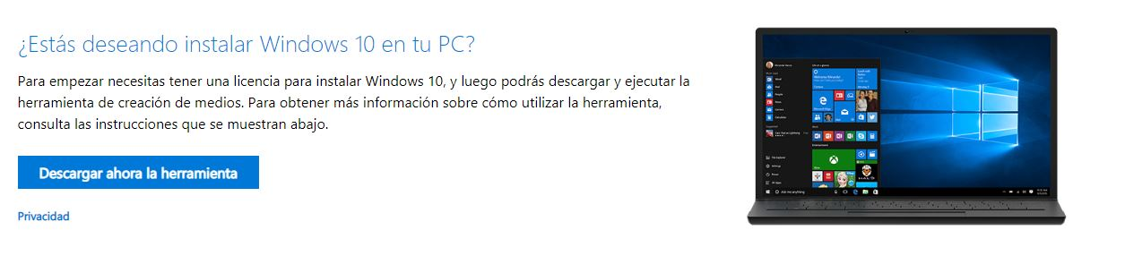 descargar la ISO en español de Windows 10